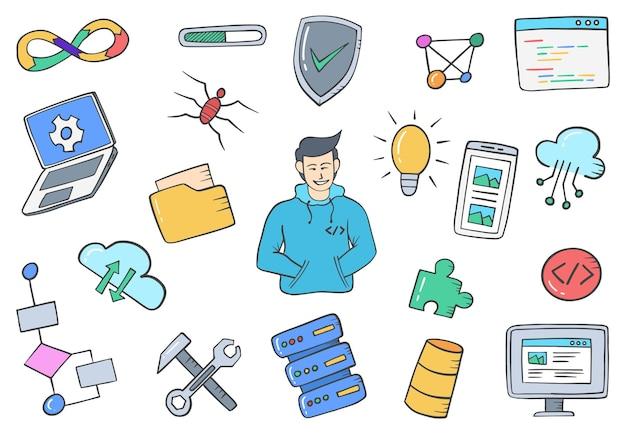 Programmeur of app-ontwikkelaar banen beroep doodle handgetekende set collecties met platte overzichtsstijl