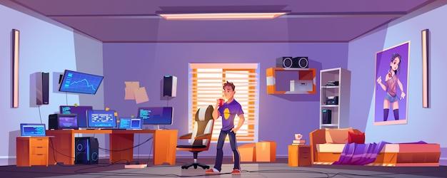 Programmeur of hacker in de slaapkamer met computer