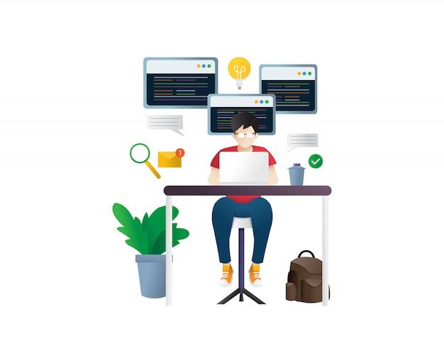 Programmeur op het werk concept