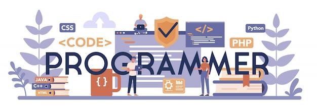 Programmeur typografische header concept. idee om aan te werken