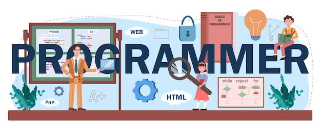 Programmeur typografische kop. studenten leren informatica, schrijven software en coderen scripts voor de computer. ict onderwijs en technologie. platte vectorillustratie.
