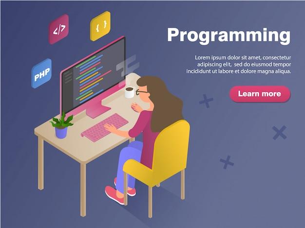 Programmeur vrouw aan het werk concept banner. plat isometrische illustratie geïsoleerd