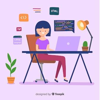 Programmeur werkt op de computer