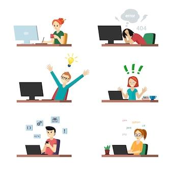 Programmeurs aan het werk set. vrolijk meisje op laptop en man met nieuw idee voor coderingstester in wanhoop vanwege fouten in programma man configureert applicatie. vector creatieve programmering
