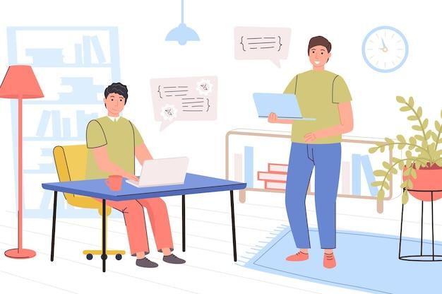 Programmeurs die aan het kantoorconcept werken het team van ontwikkelaars werkt aan een laptopprogramma