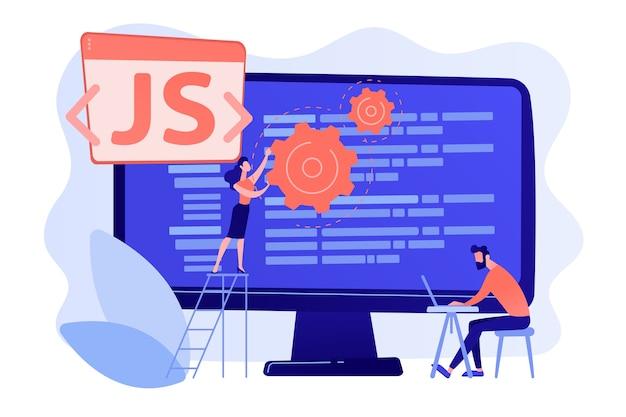 Programmeurs die javascript-programmeertaal gebruiken op de computer, kleine mensen. javascript-taal, javascript-engine, js-webontwikkelingsconcept