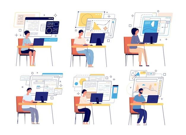 Programmeurs en ontwikkelaars. ontwerper van computerspellen, webafbeeldingen of contentmanagers. professionele softwareontwikkelingsteamset. ontwikkelaar en programmeur, softwarecodering en programmeerillustratie