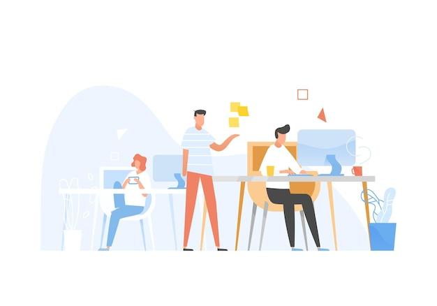Programmeurs of codeurs die samenwerken. front-end en back-end software ontwikkeling en testen, programmeren of programmacodering. gesprek tussen collega's op het werk. platte vectorillustratie.
