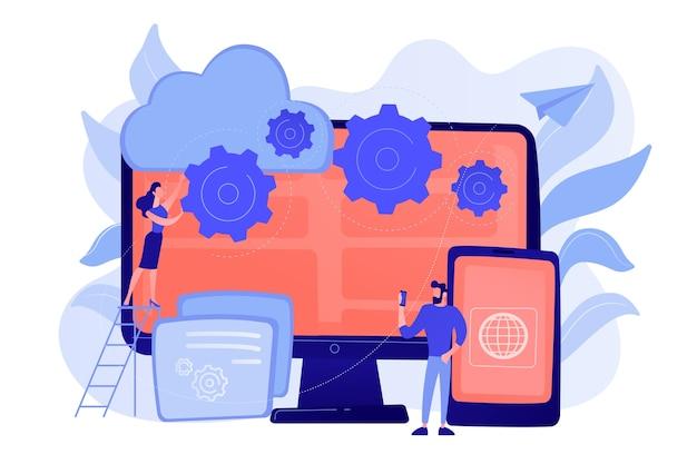 Programmeurs ontwikkelen programma voor platforms. cross-platform programmeren, cross-platform ontwikkeling en structuurconcept