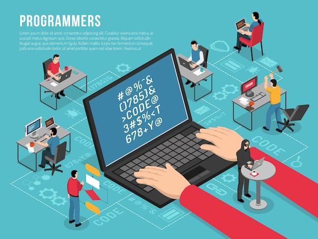 Programmeurs werken isometrische sjabloon