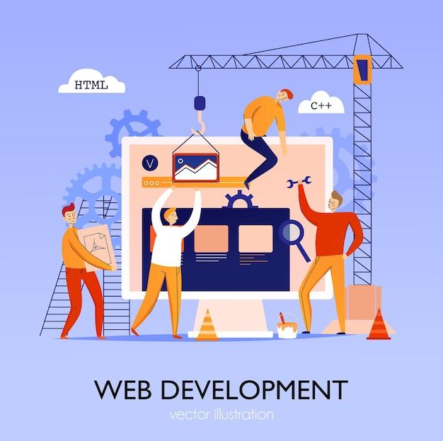 Programmeursamenstelling en concept mensen die websiteillustratie bouwen