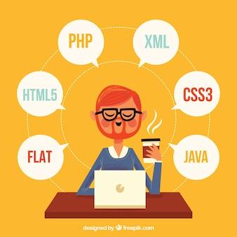 Programmeursconcept met vlak ontwerp