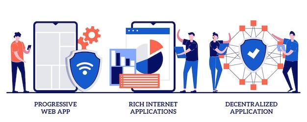 Progressieve webapp, rijk internet en gedecentraliseerd applicatieconcept met kleine mensen. mobiele app ontwikkeling illustratie set. open source platform, gebruikersinteractie ontwerp metafoor.