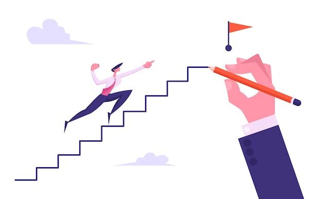 Progressieve zakenman karakter rennen naar de top van de hand getrokken illustratie