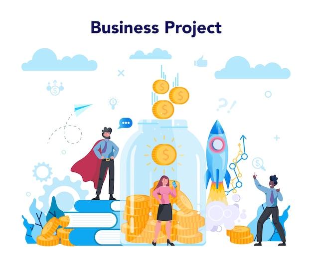 Project bedrijfsconcept. idee van strategie en prestatie