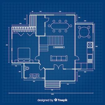 Project in blauwdruk voor een nieuw huis
