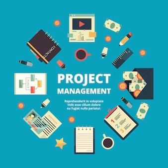 Project management . concept van office perfect team beheren werkprocessen jaarlijkse strategie