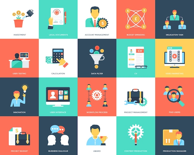 Project management flat icons collection