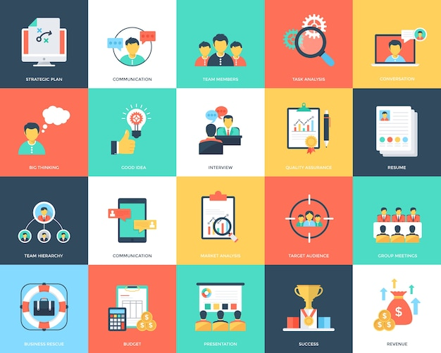 Project management flat icons set