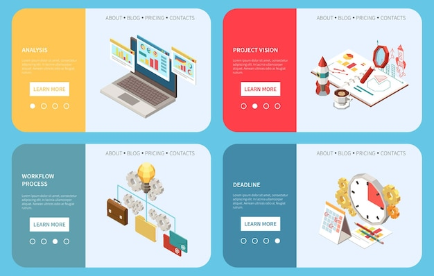 Project management isometrische set van horizontale banners illustratie