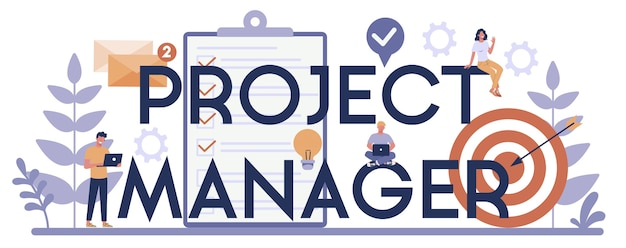Project management typografische header concept