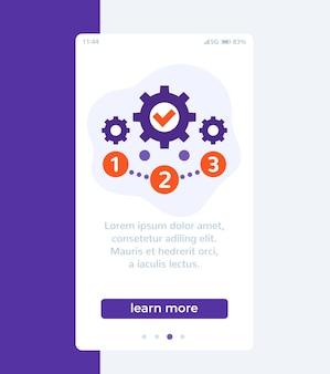 Projectbeheer, 1, 2, 3 stappen mobiel bannerontwerp