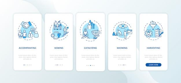 Projectbeheer onboarding mobiele app-paginascherm met concepten
