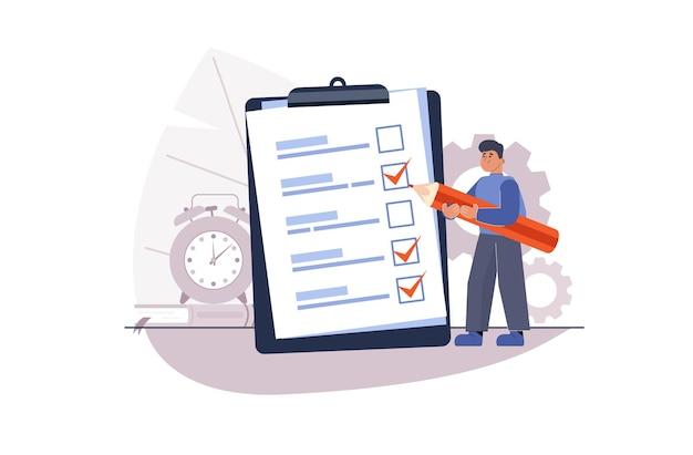 Projectbeheer, voltooiing van het doel, takenlijst. enquête beantwoorden. in de buurt van kantoorbenodigdheden.