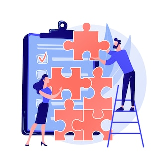 Projectmanagement van collega's. teambuilding, teamwerk van uitvoerende managers, samenwerking met collega's. werknemerskarakters die de illustratie van het puzzelconcept samenstellen