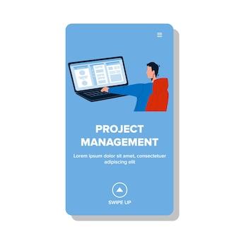 Projectmanagement zakelijke bezetting vector. projectmanagement, planning en optimalisatie van werk, werknemer die op laptop werkt. teken werknemer programmering en codering web platte cartoon afbeelding