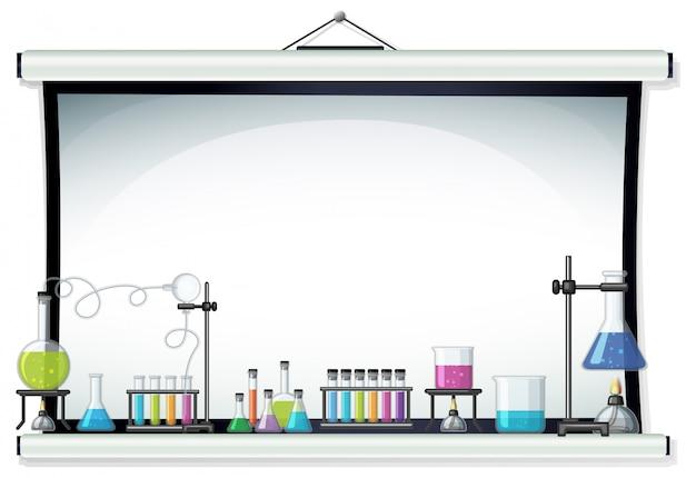 Projectorscherm met laboratoriumapparatuur