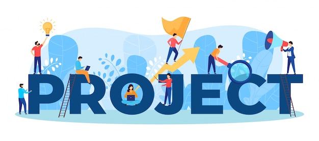 Projectteam werk illustratie van mensen uit het bedrijfsleven die als team samenwerken aan grote letters, manager, ontwerper, programmeur teamwork.