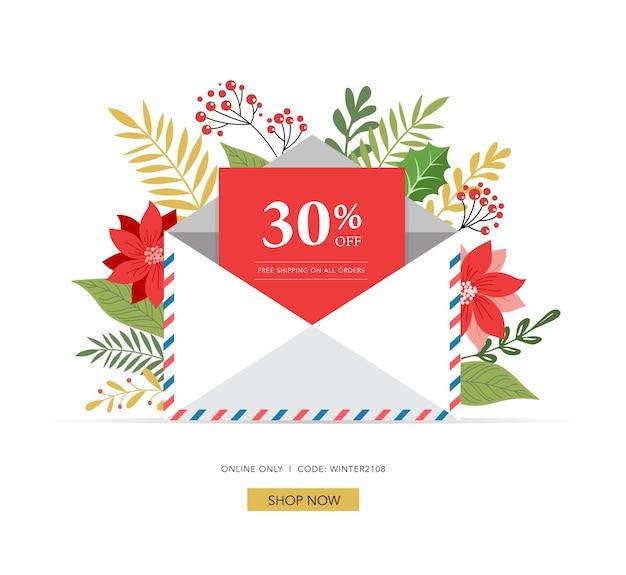 Promo kerstmis, nieuwjaar banner, verkoop poster en flyer met envelop, brief voor de kerstman