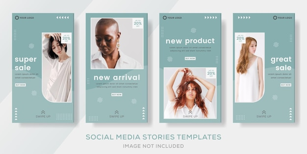 Promo mode verkoop verhalen post banner sjabloon premium vector