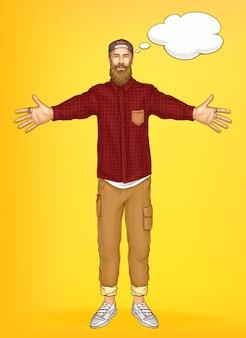 Promo sjabloon voor spandoek met hipster man