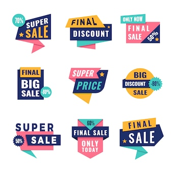Promo-tags. biedt grote kortingslabels voor advertentiesjabloon met plaats voor tekst