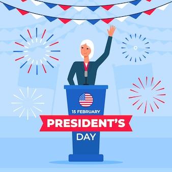 Promo van het evenement van de president met geïllustreerde vrouwelijke president