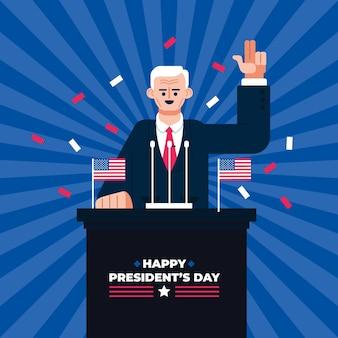 Promo van het evenement van de president van de platte ontwerp met geïllustreerde man