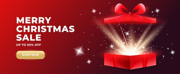 Promobanner met open geschenkdoos en goudgloeiende confetti met verrassingsgeschenkdoos