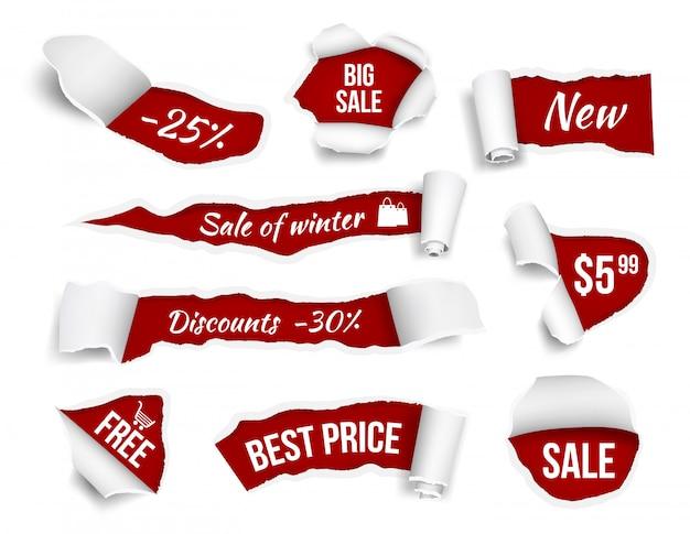 Promobanners gescheurd papier. verkoop reclame tags promotie snijkanten pagina's vector realistische afbeeldingen