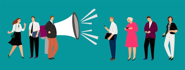 Promotie concept. platte magafoon en mensen met smartphones. vector zakenmensen karakters, reclame, verwijs een vriend illustratie