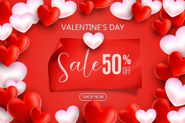 Promotie en shopping sjabloon voor het concept van liefdesdag en valentijnsdag.