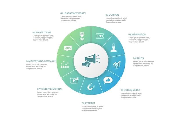 Promotie infographic 10 stappen cirkel ontwerp. reclame, verkoop, leadconversie, eenvoudige pictogrammen aantrekken