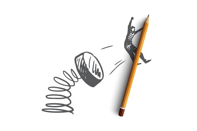 Promotie, marketing, reclame, aankondiging, aanbieding concept. hand getekend promotie-effect met vliegende man concept schets.