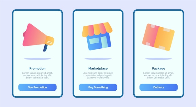 Promotie marktplaatspakket voor gebruikersinterface voor bannerpagina's van mobiele apps