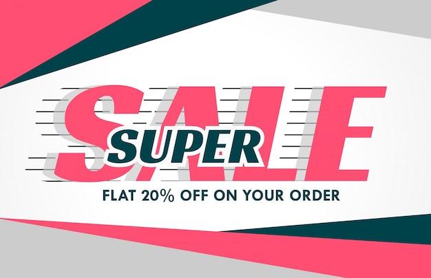 Promotie verkoop banner ontwerp in roze geometrische vorm
