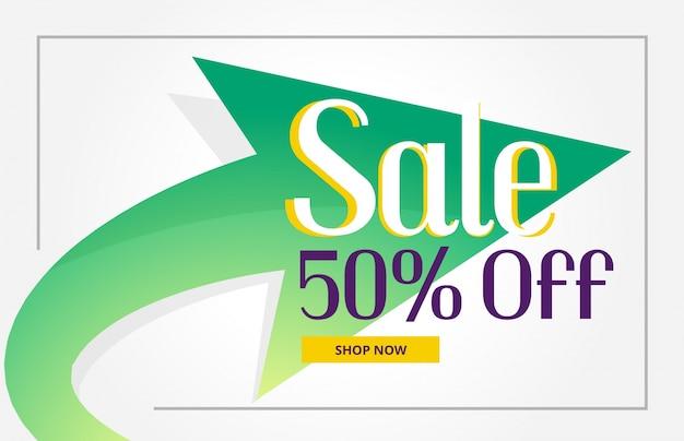 Promotie verkoop poster achtergrond met groene pijl