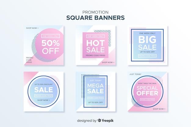 Promotie vierkante bannerverzameling