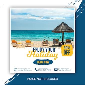 Promotie voor reizende post en feed op sociale media