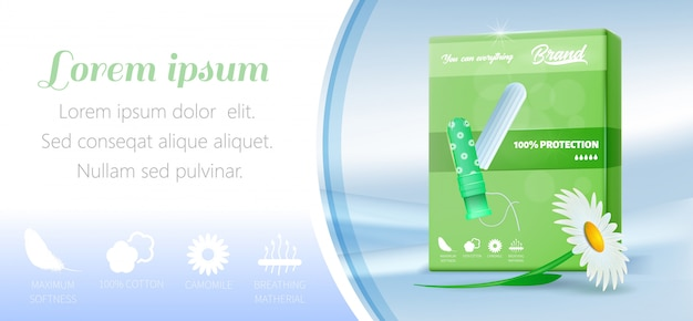 Promotiebanner met katoenen tampon in groene verpakking